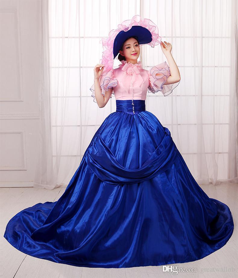 100real королевский синий розовый бабочка рукав бальное платье с шляпой средневековый Ренессанс платье викторианской готики Мария-Антуанетта колониальный Belle бал.