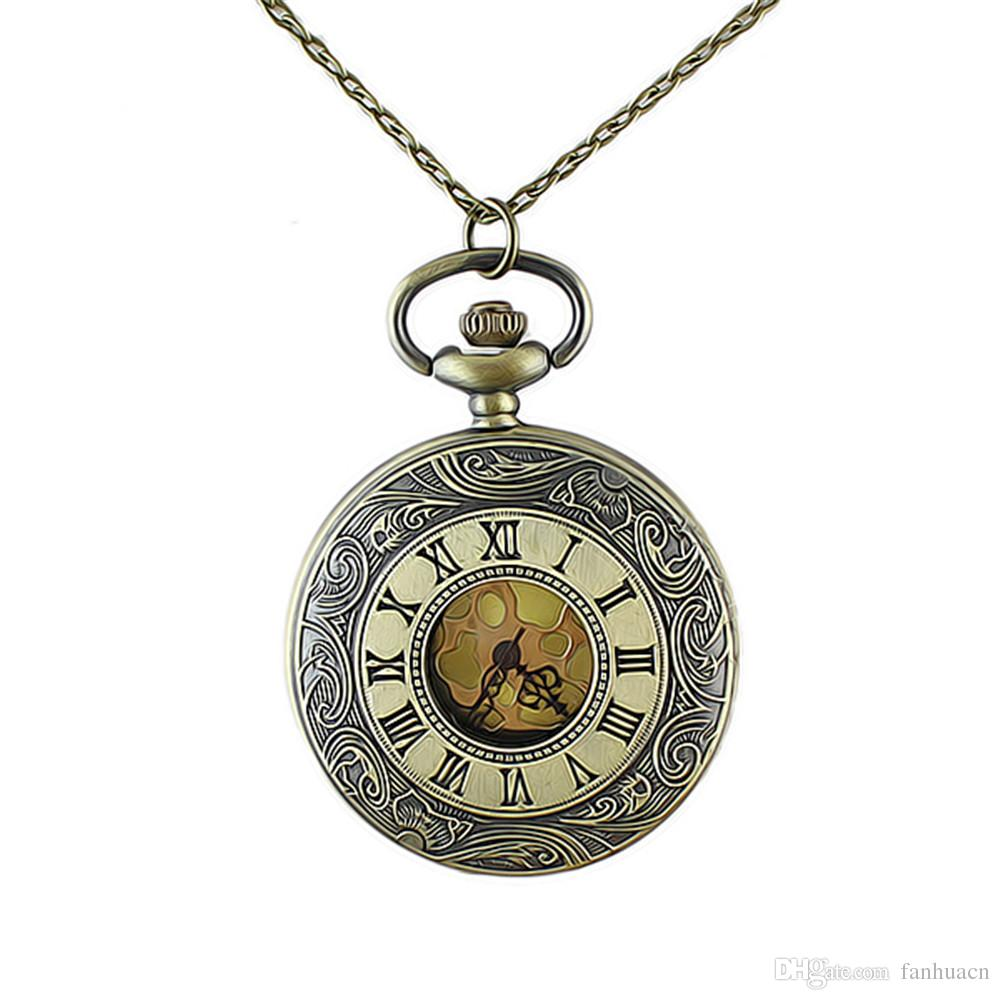 Vintage jewelry watch pendant necklace roman numerals fashion vintage jewelry watch pendant necklace roman numerals fashion elegant design round pocket watch for men and aloadofball Choice Image