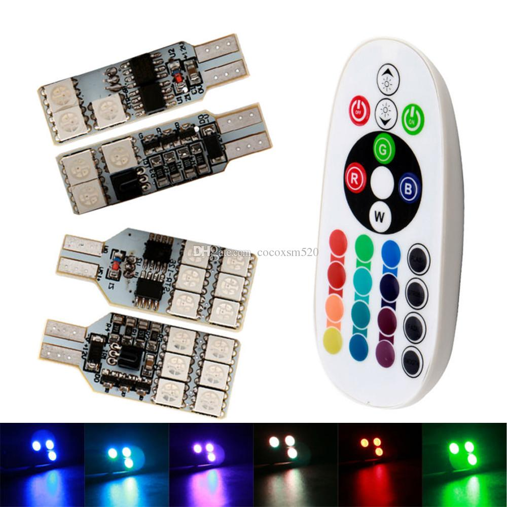 T10 W5W LED Bulb RGB Clearance Light Universal RGB COB 12SMD Colorful Multi Mode LED Bulbs With Remote Controller,For Car Interior Light Roof Light Trunk Light Interior Reading light Pack of 2