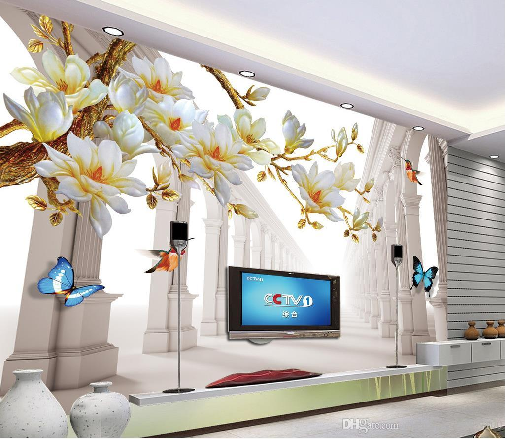 Classic Home Decor Fashion Magnolia Space Background Wall Mural Wallpaper 3d Wall Papers For Tv Backdrop