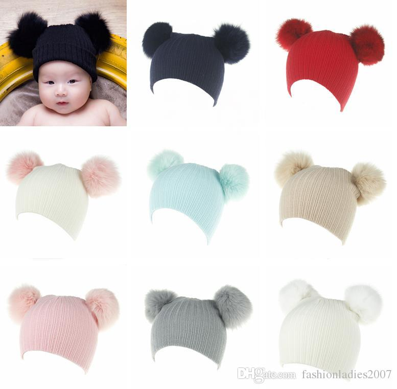 c680e0163 Baby Knitted Wool Hat Caps With 2 Fur Pom For Girls Toddler Crochet Beanies  Fox Fur Ball Cute Baby Boys Hats Family Cap Gorros Para Bebe Beanie Hat ...