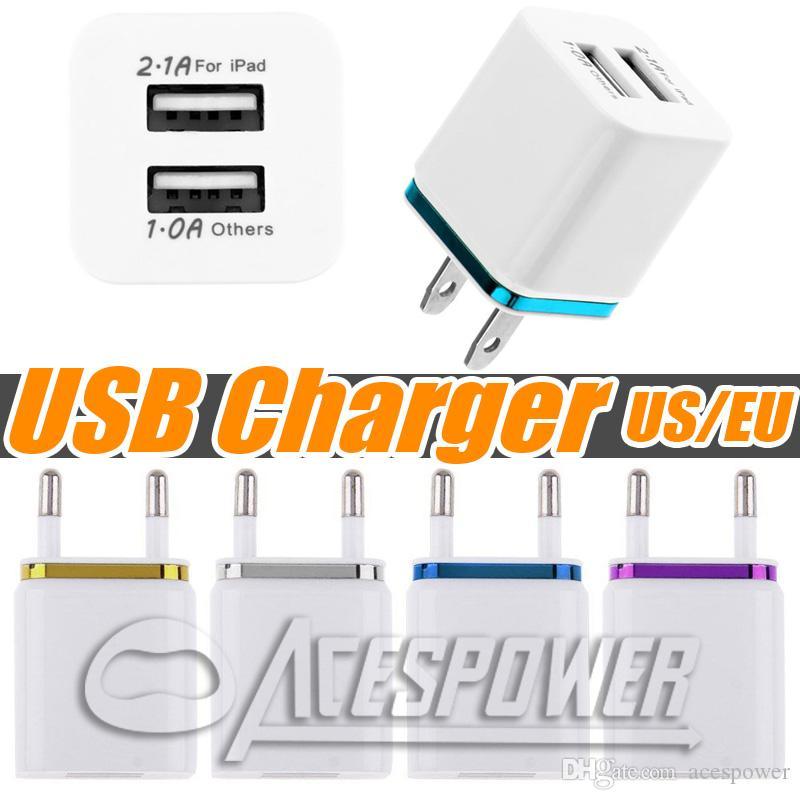 홈 듀얼 USB 충전기 EU 미국 플러그 전원 어댑터 삼성 갤럭시 노트 10 플러스 S20 플러스 LG 충전 2 개 포트 AC