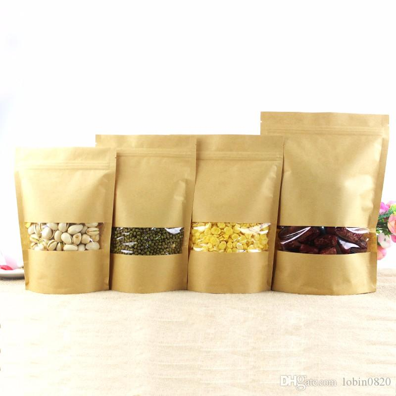 Stand Up Kraft Paper Bag Seal Packaging Window Zip Lock Pouch Candy Food Sealing