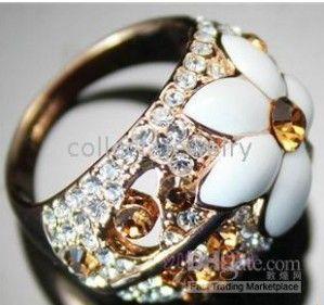 NIEUWE! 18K GOUD GP Crystal White Flower Ring 8 # GDGDG