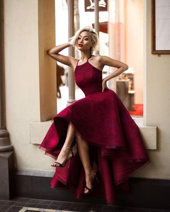 New Burgundy Lace Cocktail Dresses Short Front Long Back A Line Hi ...