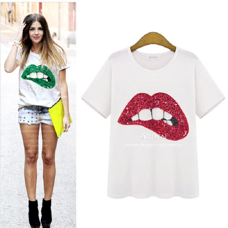 Vente en gros - T-shirt T-shirt surdimensionné T-shirt T-shirt Taille 4XL Vert paillettes 2016 LIP Lady Femme Femme Big Taille Rouge T rouge à lèvres Plus 5x DPXO