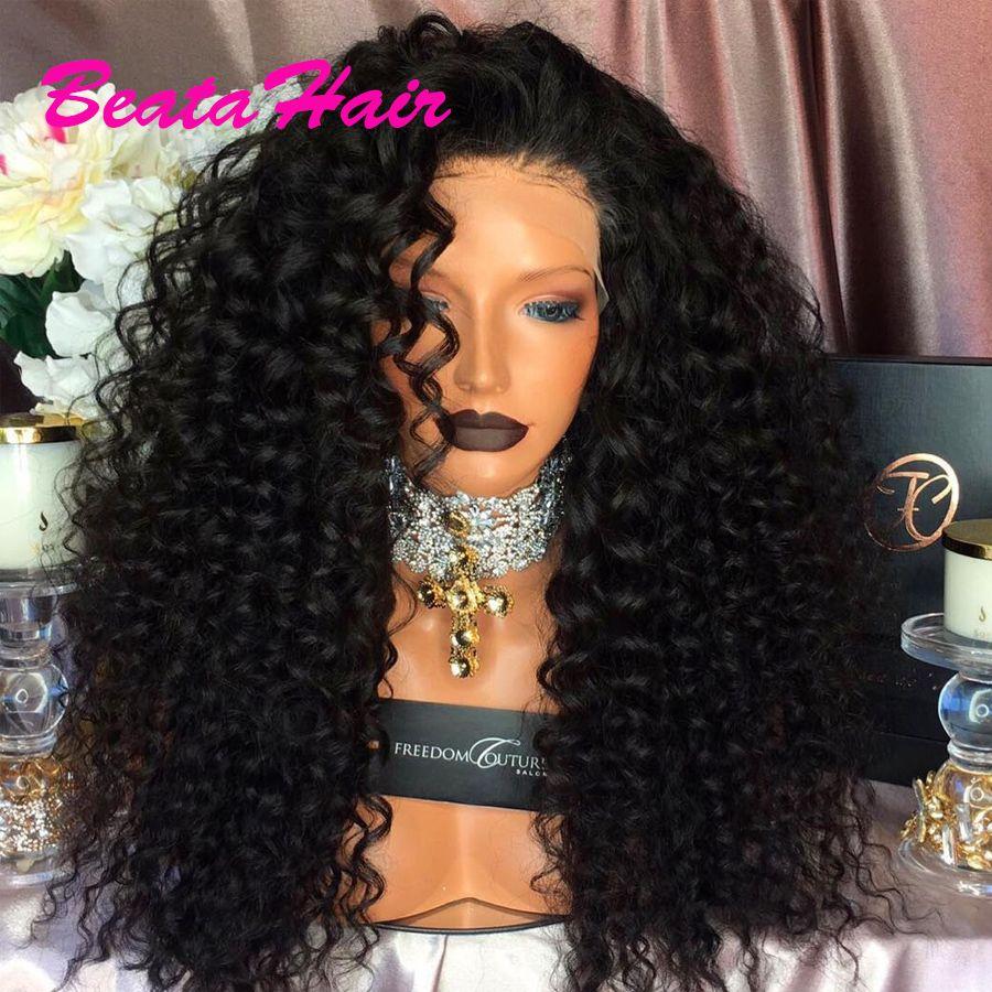 Lange lockige Spitzeperücke Glueless Volle Spitzeperücken Jungfrau-brasilianisches tiefes lockiges Haar Spitzefront-Menschenhaarperücken für schwarze Frauen