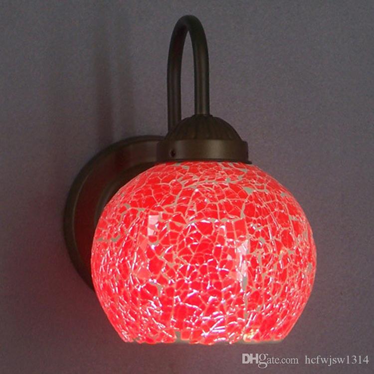Festive Colored Glass Mosaic Single Head Wall Light Iron Dahuang Glass Round Bathroom Single Headlight Headlight