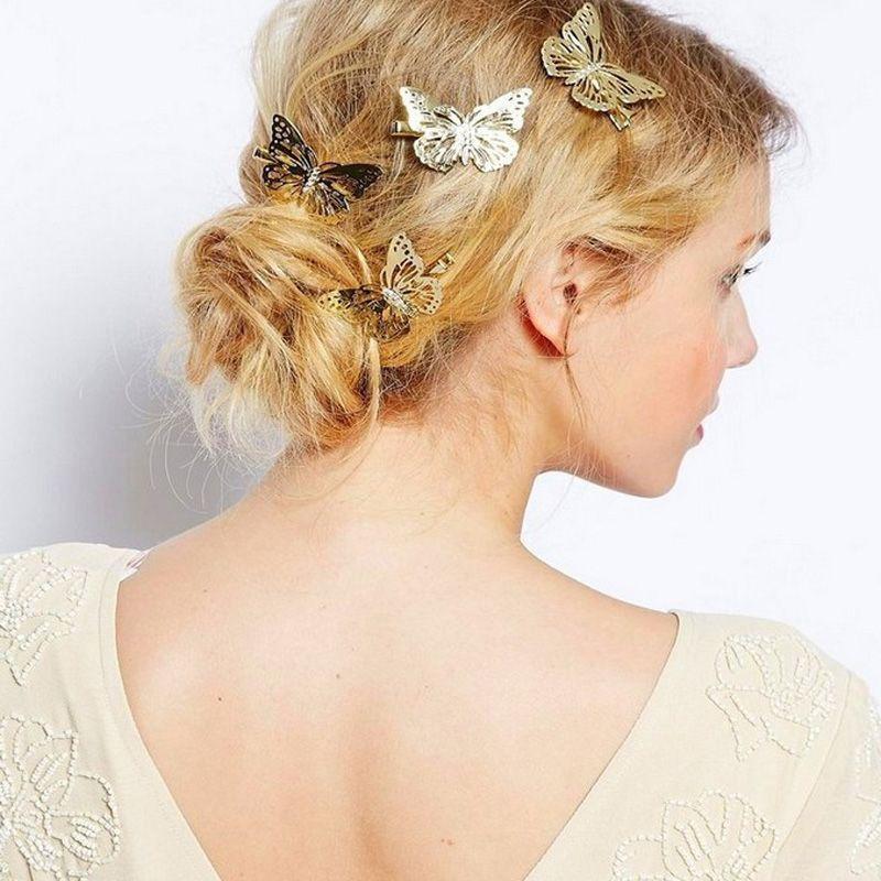 2017 nuevos Clippers de Pelo Mujeres Brillante Oro Mariposa Pinza de Pelo Belleza Dama Accesorios para el Cabello Casquillo Hairband Joyería