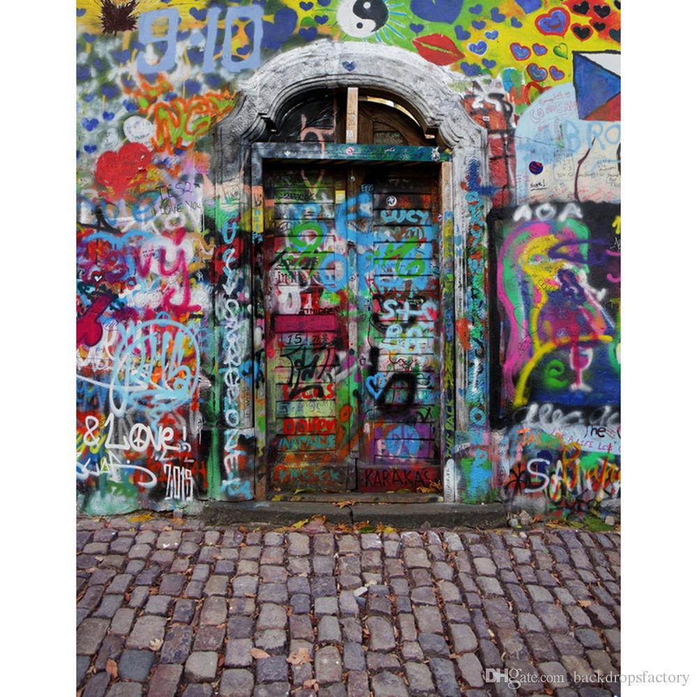 Graffiti Muro Arco Porta Fotografia Sfondo Vinile Pavimento di mattoni Bambini Bambini Fondali foto Studio Booth Props