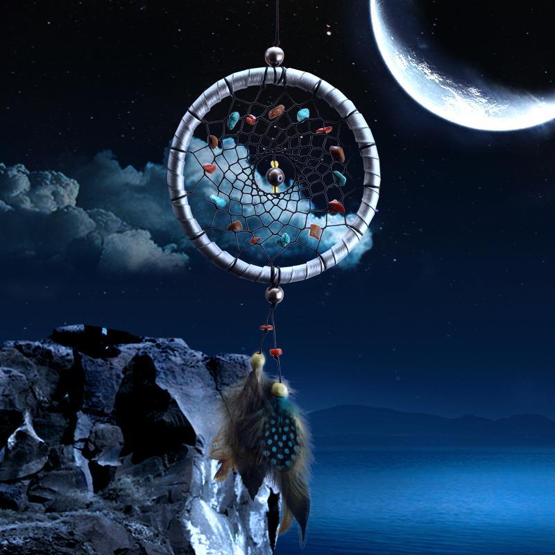 Toptan Satış - Dreamcatcher Hediye kontrol Dream Catcher Net doğal taşlar Tüyler Duvar Asılı Dekorasyon Süs Ile