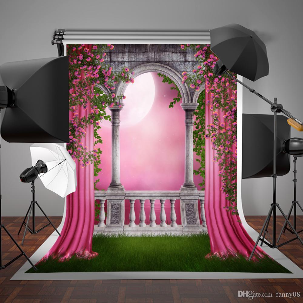 SUSU Primavera Photo Studio Fundos Jardim Galeria Cortina Rosa Backdrops Fotográficos Varanda 5x7ft para Adereços de Fotografia de Casamento