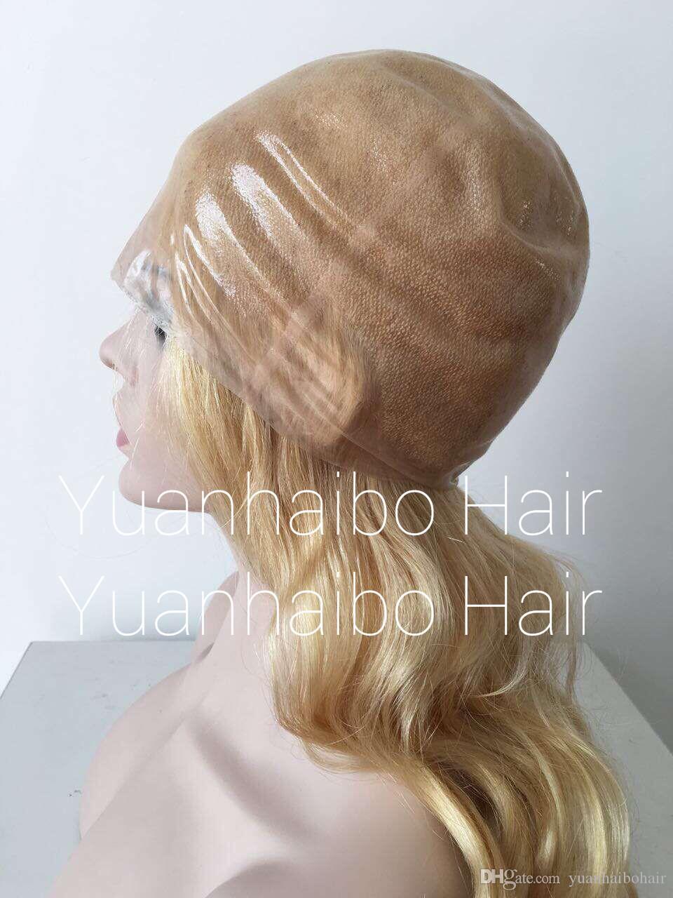 Full PU Wig Super Thin Skin Silicone Wig Straight Wavy European Blond Natural Black Virgin Indian Hair Brazilian Full Thin Wig Free Shipping