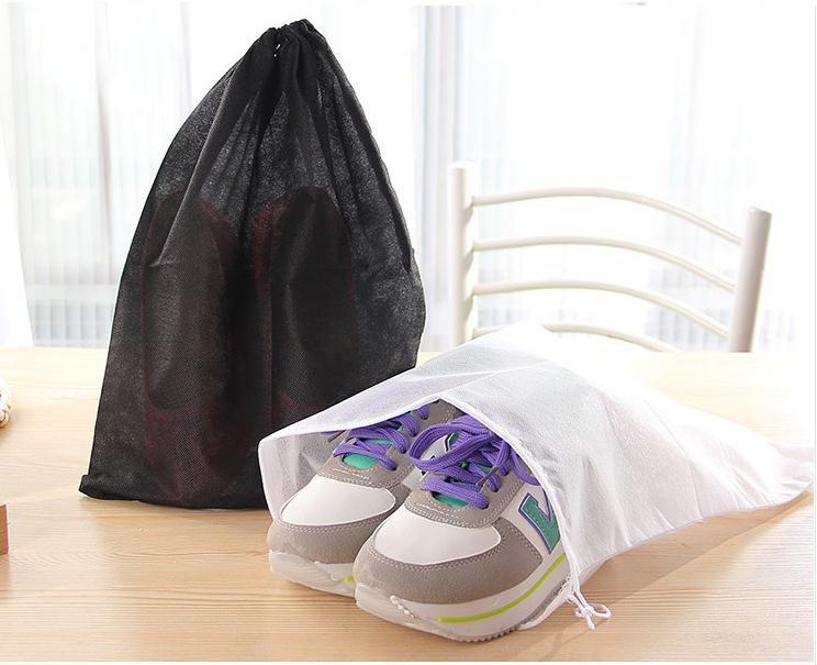 Promotion Non-woven Shoe Drawstring Travel Storage Shoe Dust-proof Tote Dust Bag Case Black White Pouch Tote Bag Dust-proof Shoe free fedex
