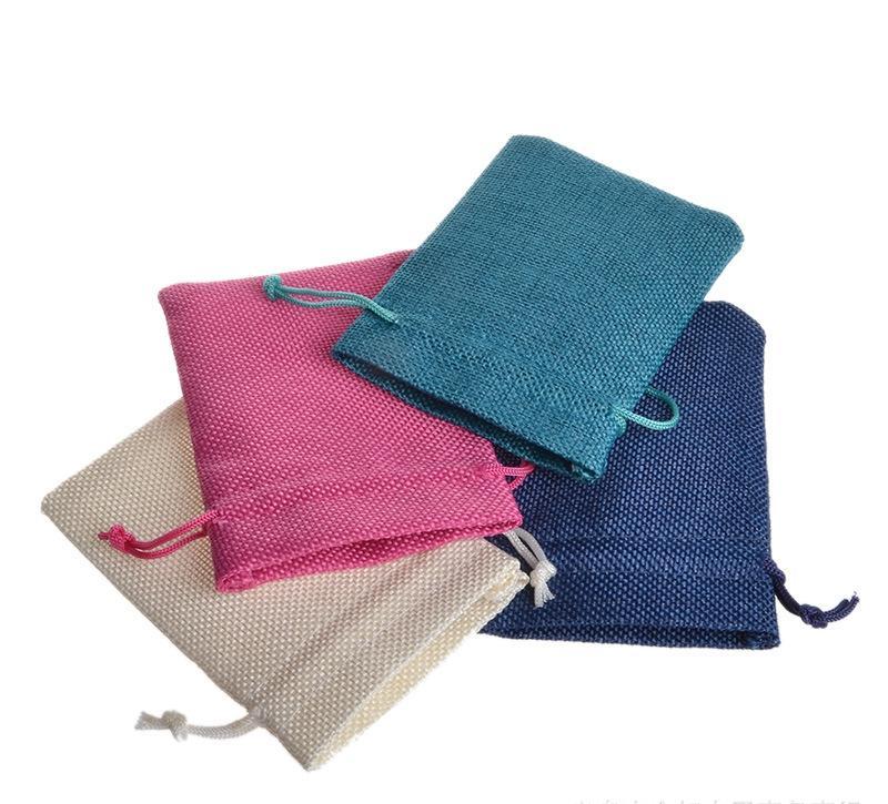 مخصص الجوت الخيش شعاع الفم حقيبة الفم حقيبة الخيش للحلي الحقائب الصغيرة الحقائب يمكن تخصيص نمط التصميم الخاص بك واللون والحجم