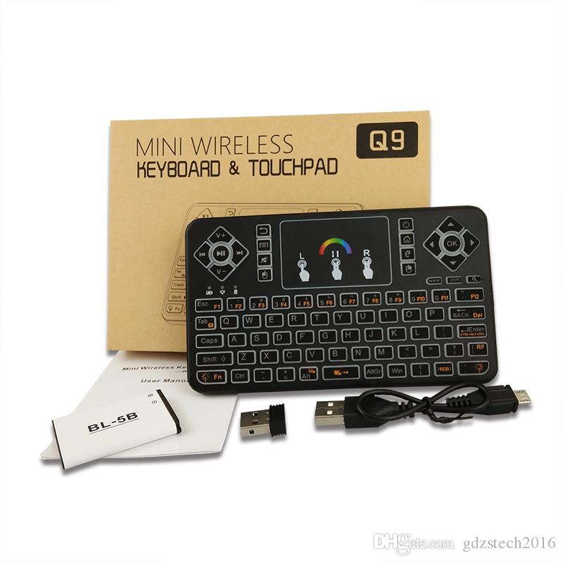 높은 qualiyt 공중 비행 마우스 Q9 다채로운 백라이트 블루투스 무선 키보드 키보드 및 터치 패드 PC 용 안 드 로이드 TV 박스 포함