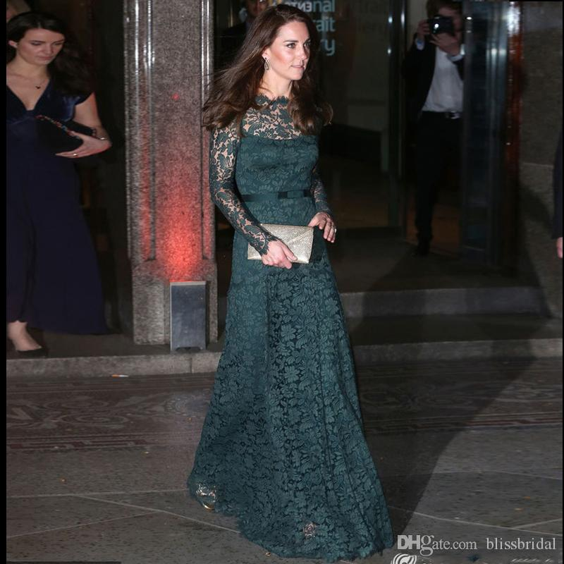 Abiti Eleganti Kate Middleton.Acquista Kate Middleton Stesso Red Carpet Abito Da Sera Verde