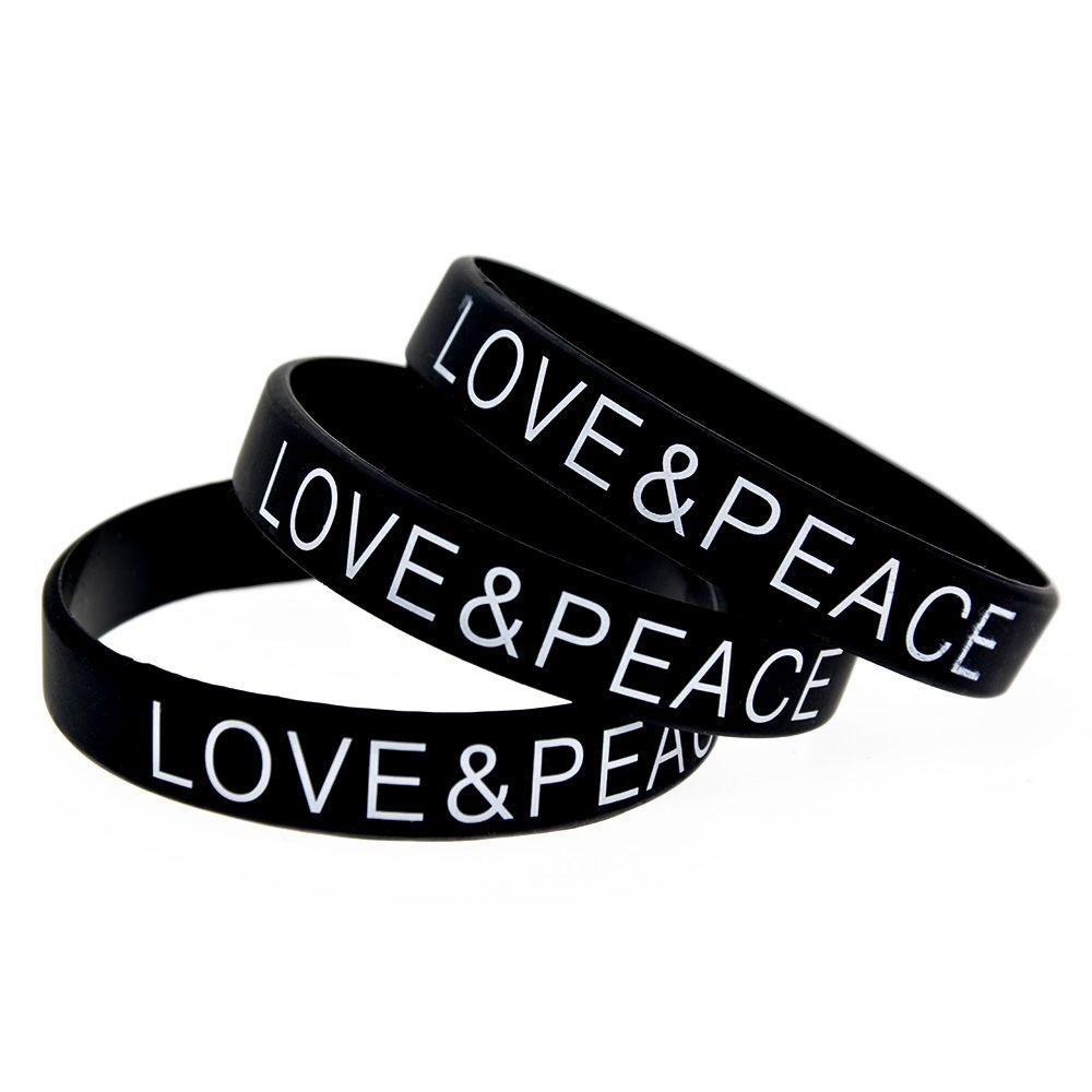 100pcs 사랑과 평화 실리콘 고무 팔찌 인쇄 로고 블랙 자선 재단 활동 프로모션 선물