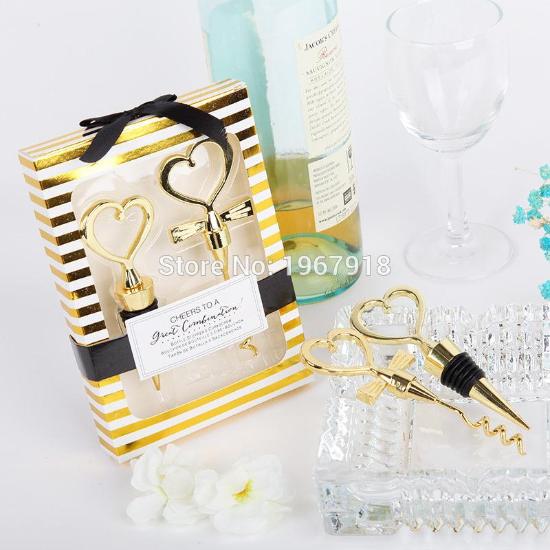 الجملة-جديد ذهبي اللون العروس والعريس زجاجة سدادة وفتاحة قلوبين النبيذ الإحسان مجموعة الزفاف الإحسان هدايا الزفاف 6 صناديق = 12 قطع