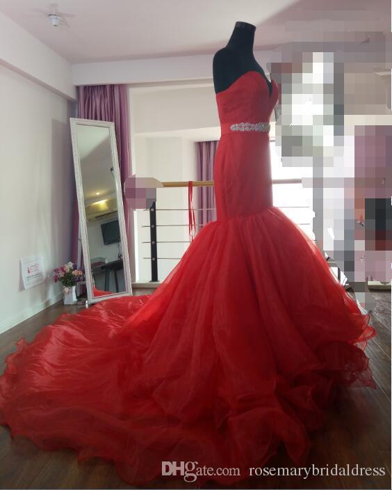 Cheap Elegant Red Wedding Dresses Mermaid Sweetheart Beads Crystal