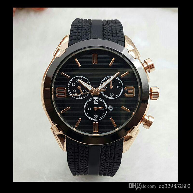 Top marque montre de grande taille hommes de luxe concepteur automatique calendrier calendrier or montre-bracelet style sportif silicone militaire grande horloge mâle numérique
