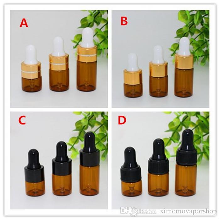 Commercio all'ingrosso 1000pcs 1ml 2ml 3ml bottiglie di vetro ambrato contagocce con tappo in oro nero per olio essenziale piccole fiale di profumo dripper bottiglia dhl