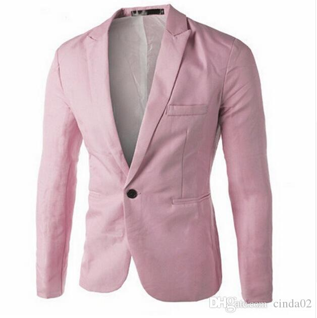 Roupas masculinas Blazer Homens Um Botão Homens Blazer Slim Fit Traje Homme Terno Casaco Blazer Masculino Tamanho M-3XL