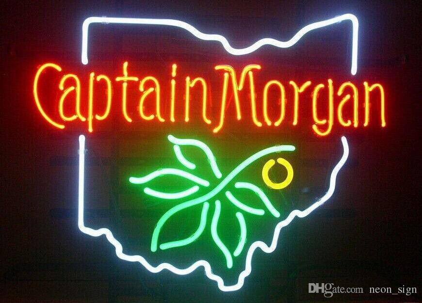 "Captain Morgan Ohio State Buckeye Spiced Rum Neon Sign Beer Bar KTV Store Club Real Glass Advertising Display Art Neon Signs 19""X15"""