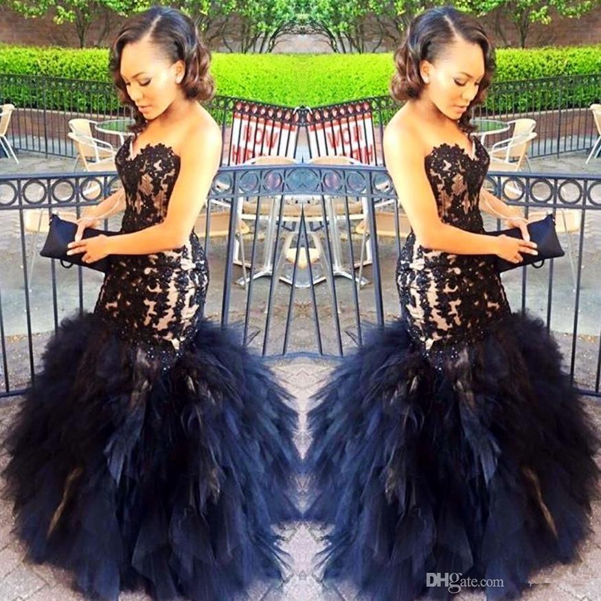 2020 Seksi Uzun Gelinlik Modelleri Mermaid Sweetheart Boncuk Kolsuz Siyah Dantel Aplikler Akşam Parti Gowns Katmanlı Etekler Kılıf Artı Boyutu Wear