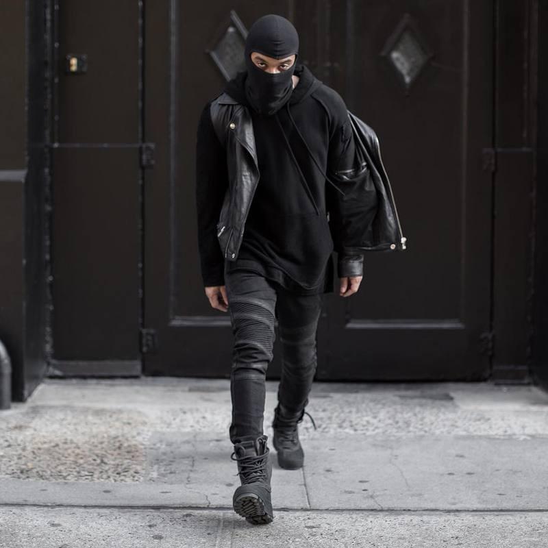 b393c32d8 2019 Wholesale Hip Hop Clothing Mens Fashion 29 36 Skinny Blue/Black Mens  Distressed Ripped Rockstar Denim Biker Jeans Men Pants From Yuanbai, ...
