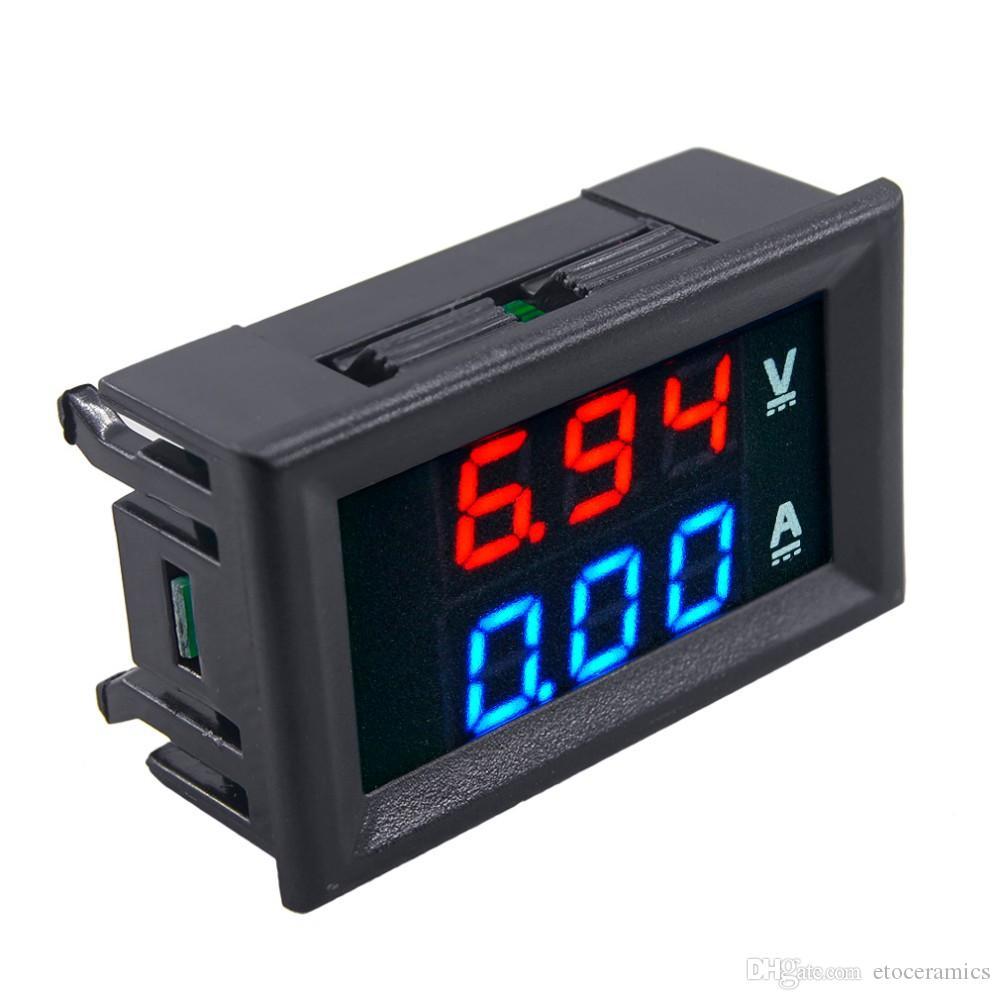 Ny DC 100V 10A Voltmeter Ammeter Blue + Red LED Digital Volt Meter Gauge