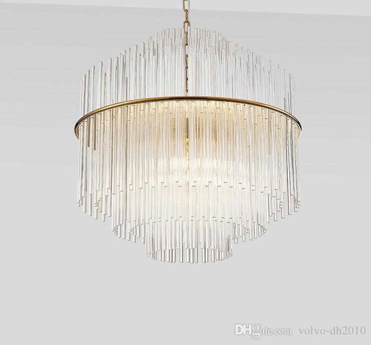 D50 / 68CM واضح بار زجاج الثريا قلادة مصباح تعليق الثريات تركيبات الإضاءة لمطعم نوم دراسة فندق غرفة الطعام