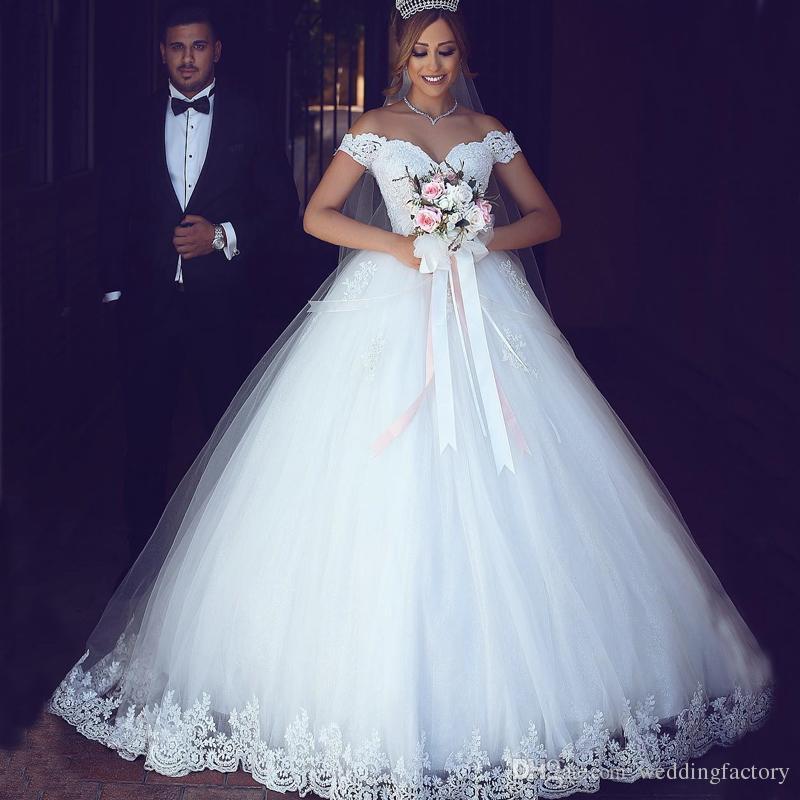 Arabe dentelle robe de balle robe de mariée hors de l'épaule exquise dentelle appliques tulle robe de mariée de tulle sur mesure