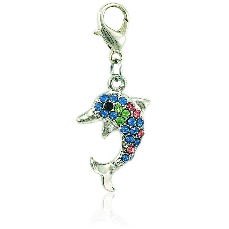 Los nuevos encantos de la moda cuelgan los encantos de los animales delfín del rhinestone con la broche de la langosta joyería DIY que hace los accesorios