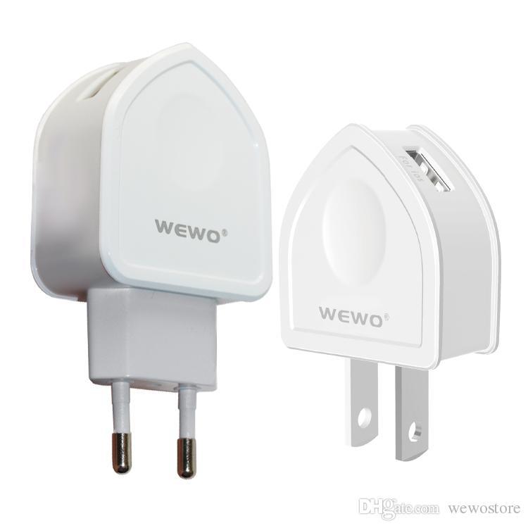 WEWO Dual USB Power Adapter con cavo il telefono mobile astuto caricatore portatile USB Charger plug Xiaomi Samsung negli Stati Uniti con l'imballaggio al dettaglio