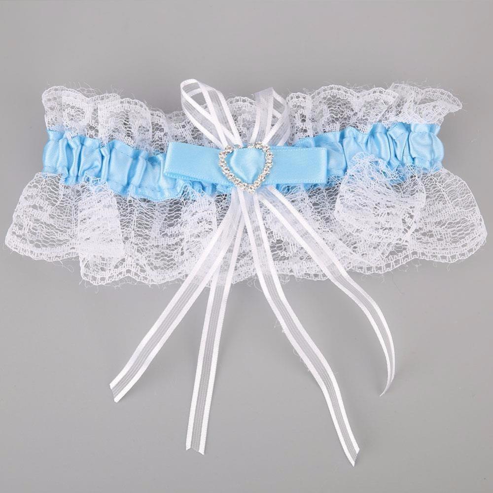 Женская сексуальная кружева бантом подвязки женщина свадьба для новобрачных белье кружева пояса Женский в форме сердца горный хрусталь подвязки