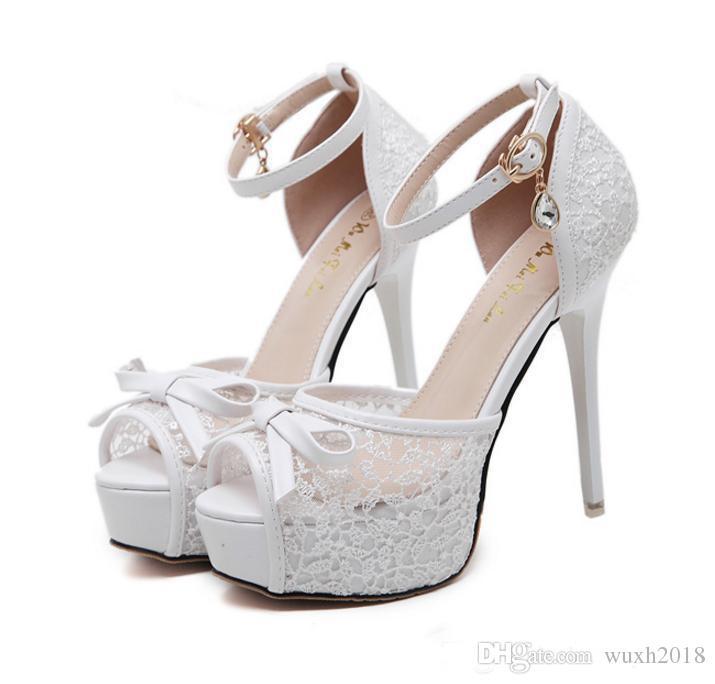 Großhandel 2017 Neue Elegante Braut Weiß Bowtie Spitze Hochzeit Schuhe Frauen High Heels Knöchelriemen Peep Toe Plateau Pumps Schwarz Von Wuxh2018,