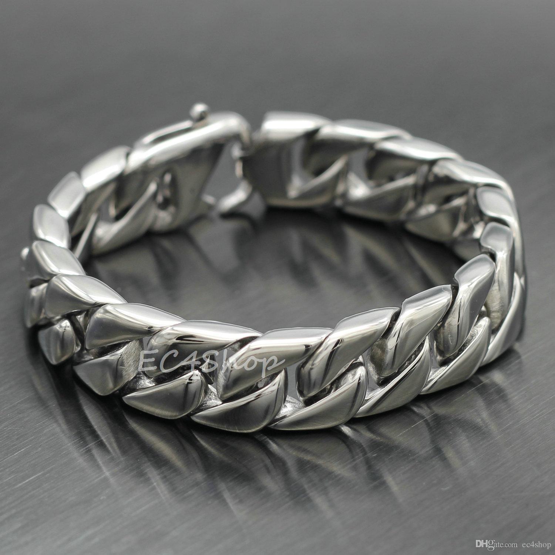 """Men Women Silver Curb Cuban Chain Link Bracelet 316L Stainless Steel 15mm 7.8"""""""