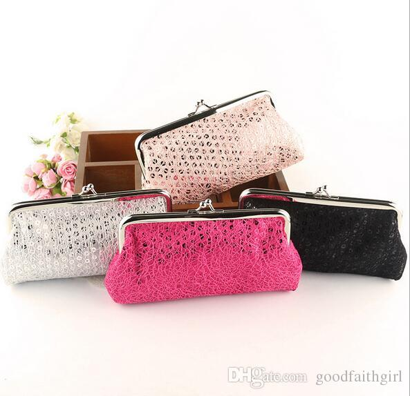 50pcs Vintage mini women girl paillette sequin coin purse key holder wallet hasp small gifts bag clutch handbag phone case Xmas gift