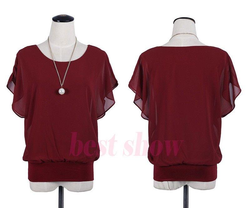 New Womens Top Fashion 2017 Donne Summer Chiffon Camicetta Plus Size Ruffle Batwing Manica Corta Camicia Casual Casual Black Bianco rosso blu