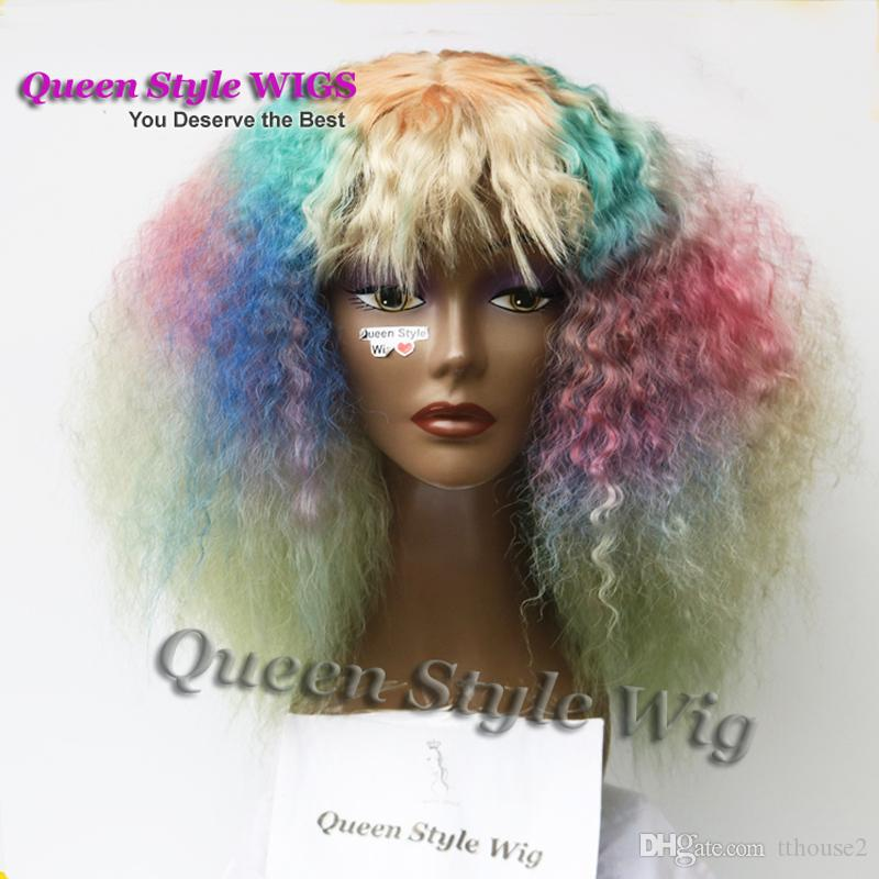 African American Colorful Mermaid Rainbow Hair Wigs Synthetic Heat Resistant Fiber Short Afro Fluffy kinky Curly Hair Wigs for Black Women