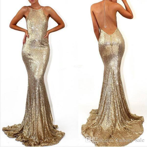 Bling Gold Sexy Backless Evening Dresses Modern Halter Sleeves Sequined Party Prom Gowns Formal Wears for Celebrity Holiday