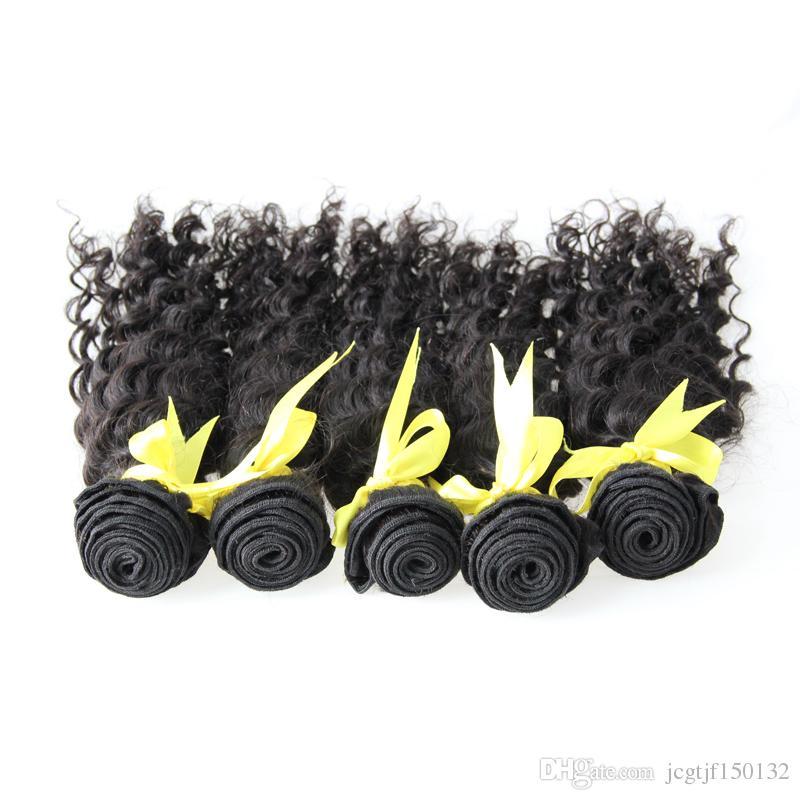 Onda profunda Brasileira Feixes de tecelagem de cabelo Brasileiro Tecelagem Cor Natural 5 Pcs Tecer Cabelo Humano