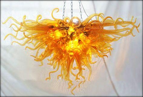 Designer Golden Blown Glass Chandelier Lighting LED light European Style Art Crystal Chandeliers Indoor Home Decor