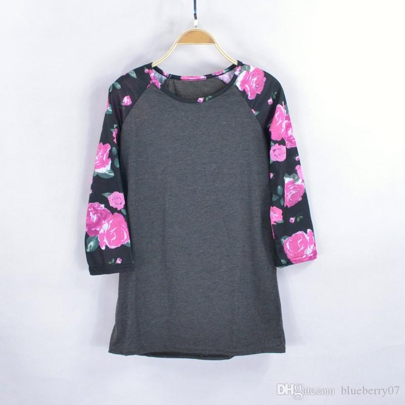 Femmes Mode genoux Chemise Casual Floral T-shirt lâche de coton du style shirt O cou Raglan manches gris Blanc-xl