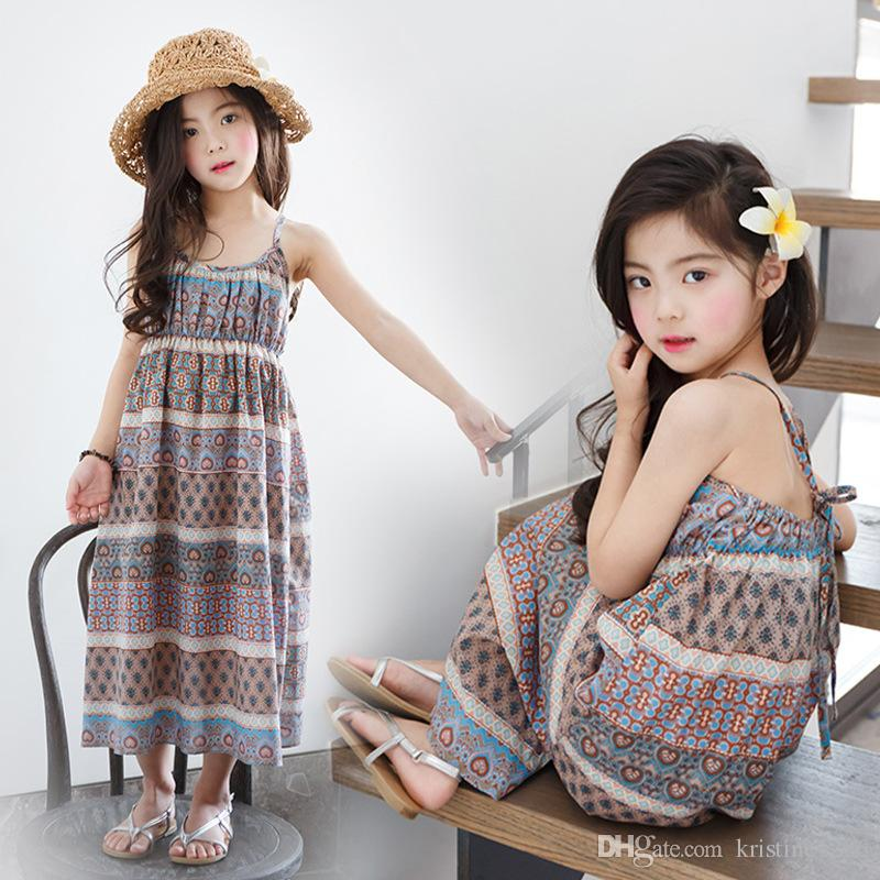 holiday beach 2017 summer girl dresses children maxi long summer baby teenage girls clothes sleeveless print kids dress girls clothing