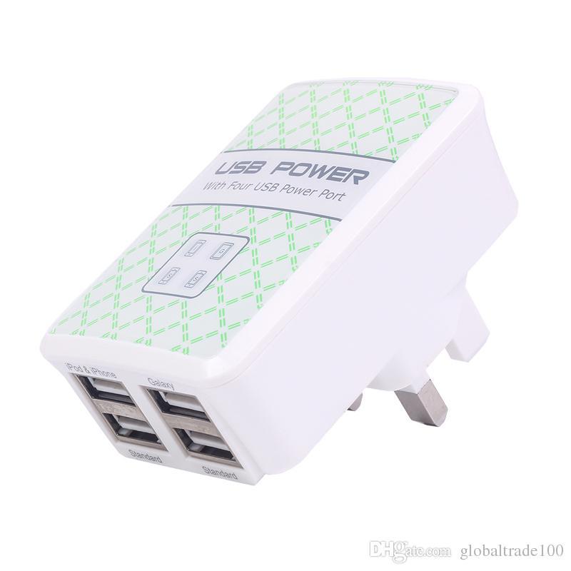 4 USB Portu Duvar Şarj ABD / AB / İNGILTERE Tak DC 5 V 2.1A Cep Telefonları Smartphone şarj için Güç Adaptörü
