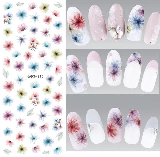 DS310 Transferencia de Agua Nails Art Sticker Harajuku Elements Colorful Fantacy borrosa Flores Uñas Wraps Sticker Manicura Decal