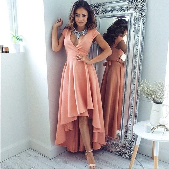 2018 Sexy Deep V-neck High Low Long Evening Dresses Modern Short Sleeves Coral Dresses Evening Party Wear Summer Cocktail Dress BM0197