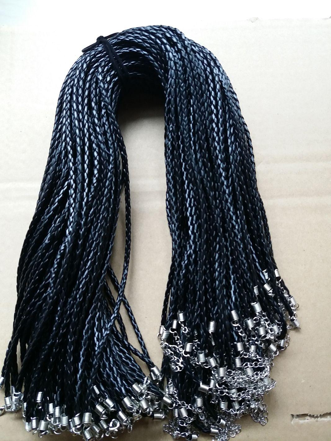 DIY 공예 펜던트 목걸이의 보석 3mm 블랙 PU 가죽 끈 로프 보석 로프 랍스터 걸쇠 코드 20 ''22 ''24 ''